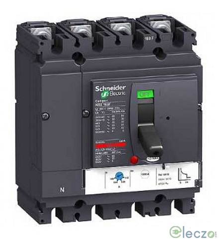Schneider Electric Compact NSX MCCB 100 A, 4 Pole, 36 kA, Adjustable O/L & Adjustable S/C Settings, Thermal Magnetic Trip Unit TMD