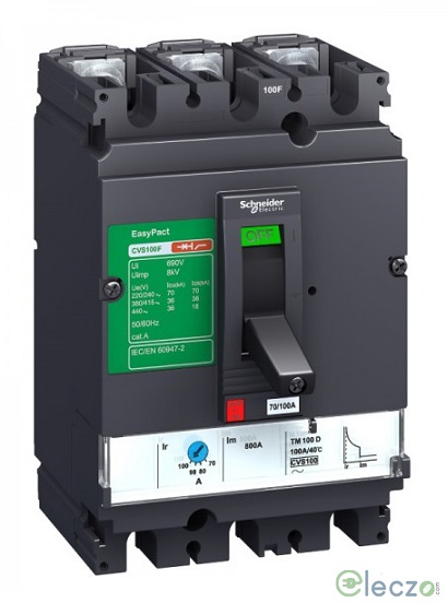 Schneider Electric Easypact CVS MCCB 100 A, 3 Pole, 36 kA, Adjustable O/L & Fixed S/C Settings, Thermal Magnetic