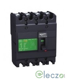 Schneider Electric Easypact EZC MCCB 63 A, 4 Pole, 30 kA, Fixed O/L & Fixed S/C Settings, Thermal Magnetic Trip Unit TMD