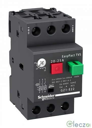 Schneider Electric EasyPact TVS GZ1-E MPCB With Pushbutton Control 0.1 - 0.16 A, Thermal Magnetic, O/L & S/C