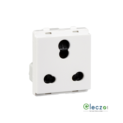 Schneider Electric Livia 3 Pin Socket Outlet With Shutter 10/25 A, 2 Module, White