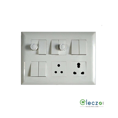 Schneider Electric Livia Cover Plate 12 Module, White, With Support Frame