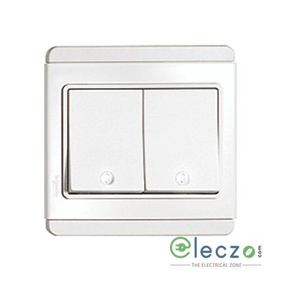 Schneider Electric NEO Horizontal Dolly 2 Gang Switch 10 A, White, 2 Way, With LED Indicator