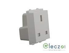 Schneider Electric Opale BS Flat Pin Socket Outlet With Shutter 13 A, 2 Module, White
