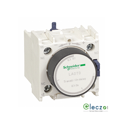 Schneider Electric TeSys Pneumatic Timer Block, On Delay, 1 NO + 1 NC, 0.1 to 3 Sec, Front Mounted, Suitable For Tesys D & Tesys F Contactor