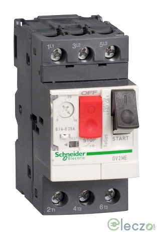 Schneider Electric TeSys GV2-M Motor Circuit Breaker With Pushbutton Control 0.16 - 0.25 A, 100 kA, Thermal Magnetic