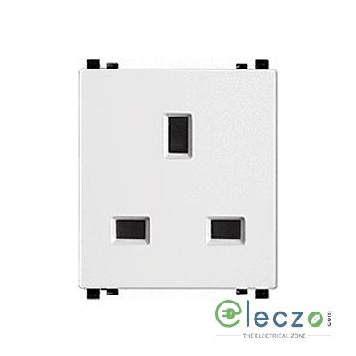 Schneider Electric ZENcelo Flat Pin Socket With Shutter 13 A, 2 Module, White