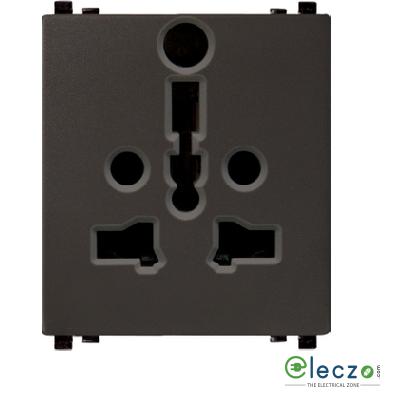 Schneider Electric ZENcelo International Socket With Shutter 2 Module, Dark Grey