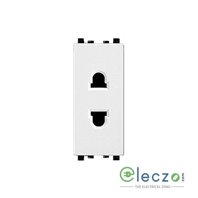 Schneider Electric Zencelo 2 Pin Universal Socket With Shutter 1 Module, White