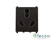 Schneider Electric ZENcelo 3 Pin Socket With Shutter 6/16 A, 2 Module, Dark Grey