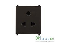 Schneider Electric ZENcelo 2 Or 3 Pin Universal Socket With Shutter 2 Module, Dark Grey