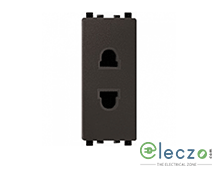 Schneider Electric ZENcelo 2 Pin Universal Socket With Shutter 1 Module, Dark Grey