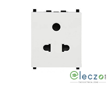 Schneider Electric ZENcelo 2 Or 3 Pin Universal Socket With Shutter 2 Module, White