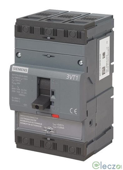 Siemens Sentron 3VT1 MCCB 63 A, 3 Pole, 25 kA, Fixed O/L & Fixed S/C Settings, Thermal Magnetic Trip Unit