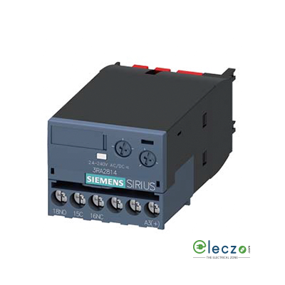 Siemens Sirius Solid State Timer Block, On Delay, 24-240 V AC/DC, 1 NO + 1 NC, 0.05 to 100 Sec, Suitable For 3RT2/3RH21 & 3RH24 Contactor Size S00, S0, S2