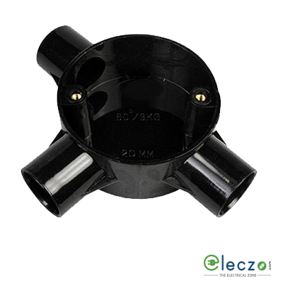 VIP PVC Junction Box With LID And Screw 19/20 mm, Black, 2 Way